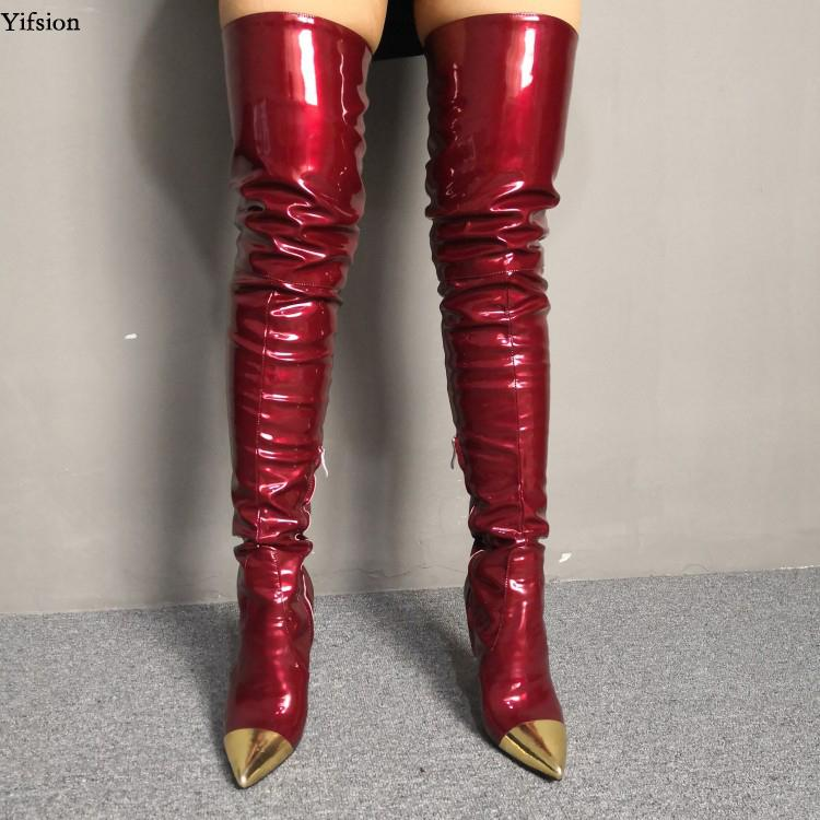 Rontic Women Over The Knee Boots Thin High Heels Boots Pointed Toe Gorgeous Wine Red Club Wear Shoes Women Plus US Size 5-15