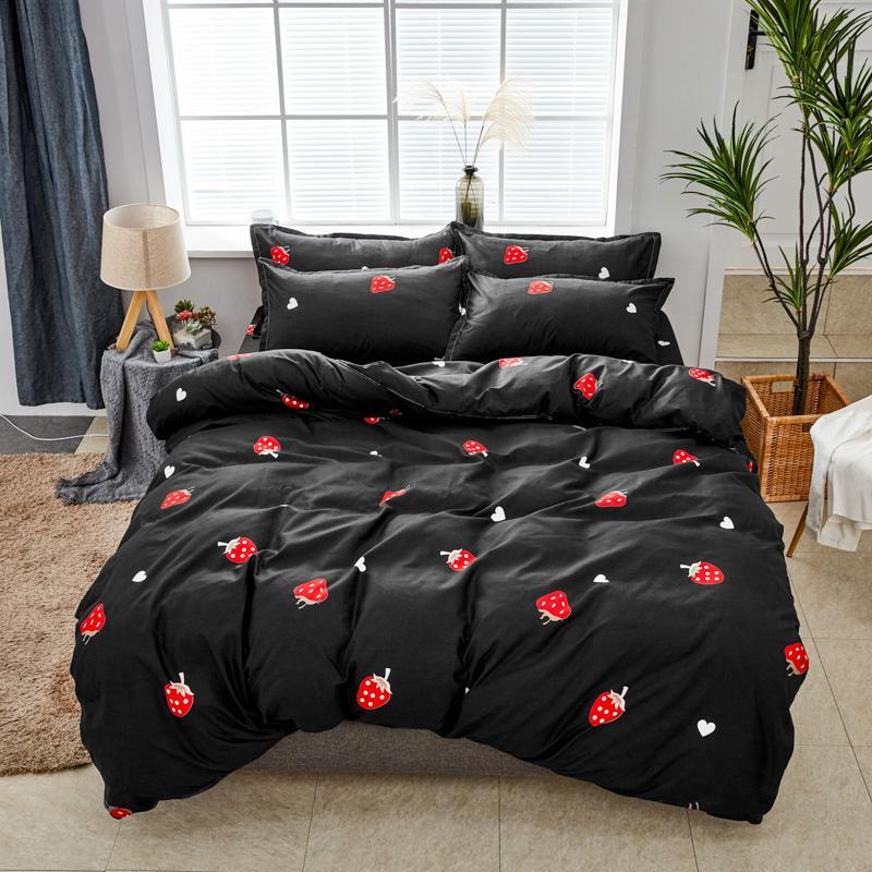 BEST.WENSD Moda Negro Ropa de cama doble, único Establece suave edredón de cama 4pcs Amor fresa de cama -set -cover