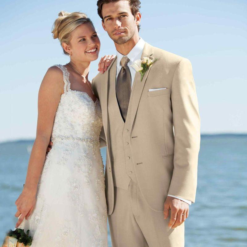 2019 Beige Men Suits Wedding Suits Bridegroom Groomsman Groom Wear Notched Lapel Custom Slim Fit Formal 3Pieces Best Man Blazer Tuxedos Prom