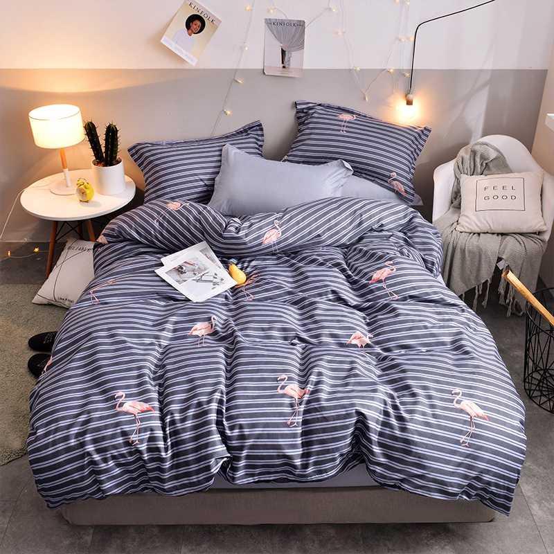 BEST.WENSD 침대보 전체 사이즈 침대 세트 코너 이불 커버 + 장착 침구 + 베개 케이스 줄무늬 침구 세트 이불 플라밍고