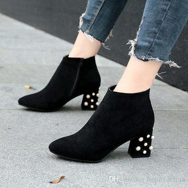 2019 Kadın Ayak Bileği Çizme Martin Kış Boncuk Inek Süet Platformu Bayanlar Tıknaz Yüksek Topuklu Rahat Ayakkabılar Patik