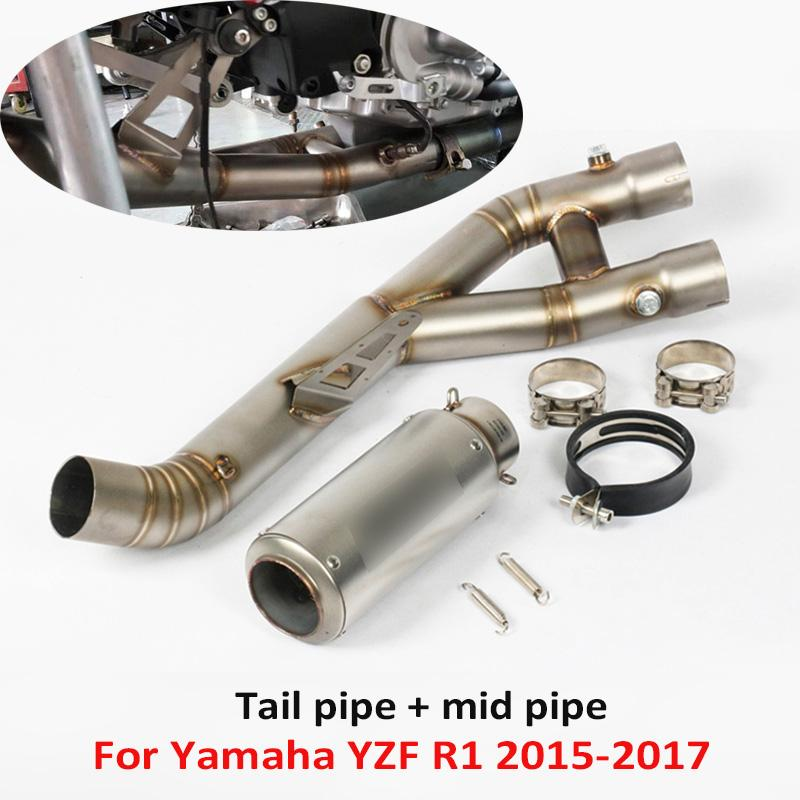 YZF-R1 Motorcycle Exhaust Tip Muffler System Exhaust Pipe Connect Link Tube Slip on for YZF R1 2015-2020