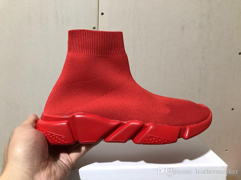 Chaussures de marque de luxe homme femmes vitesse formateurs tricoter chaussette semelle texturée rouge haute qualité casual italie robe chaussures