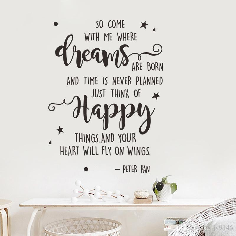 Peter Pan Saying Wall Decals DIY Vinyl Creative Proverbs Quotes Wall  Sticker Murals For Home Decor Wallpaper Stickers For Bedrooms Walls Decals  From ...