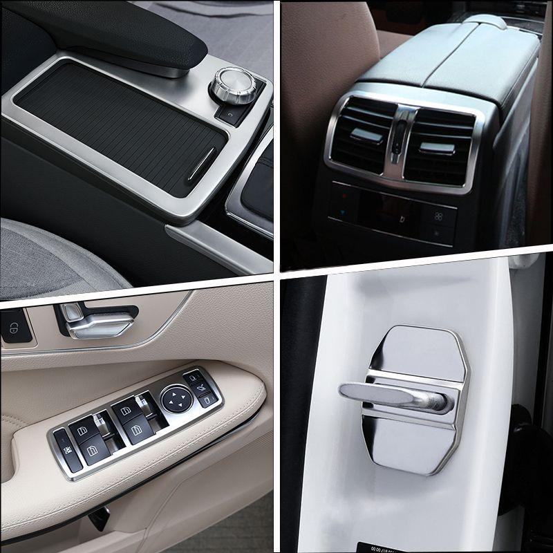 메르세데스 벤츠 E 클래스 W212 2010-2015 자동차 내부 기어 시프트 에어컨 CD 패널 도어 팔걸이 커버 트림 스티커 부속품