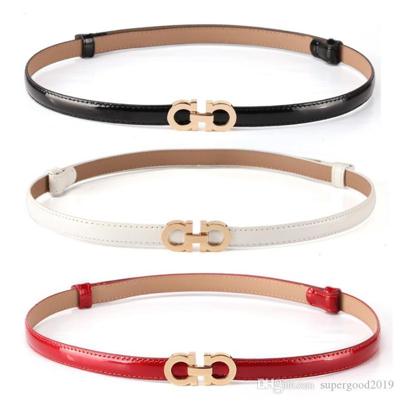 Cinturón de cuero de patente de la moda de las mujeres de la aleación de la hebilla del diseñador de la marca Cinturón delgado para las mujeres Vestido de lujo de verano Correas Venta