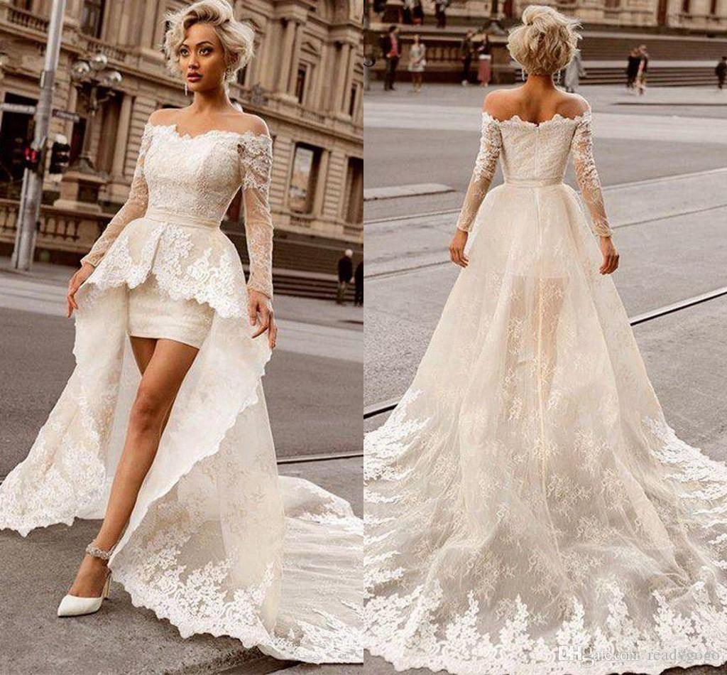 Discount 2019 Above Knee Mini Lace Wedding Dresses With Detachable Train Sexy Off The Shoulder Long Sleeve Bridal Wedding Gowns Wedding Vintage