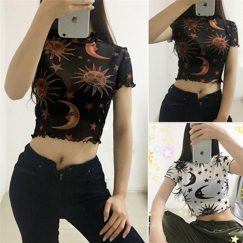 Las damas de las mujeres ven a través de las camisetas Sexy Lady Mesh Sheer Crop Tops Impreso manga corta cuello redondo delgado Tops Transparente Camisetas