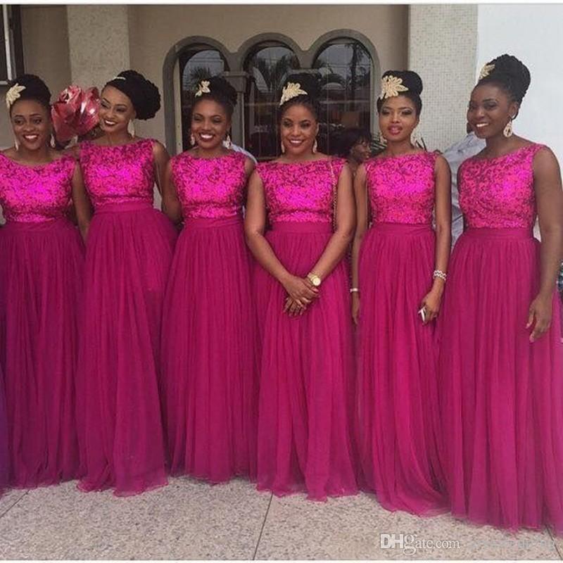 2020 Afrika Fuşya Renkli Uzun nedime Ucuz Modest Parlak Pullarda Elbise için Örgün Düğün Custom Made Seksi Uzun Elbise