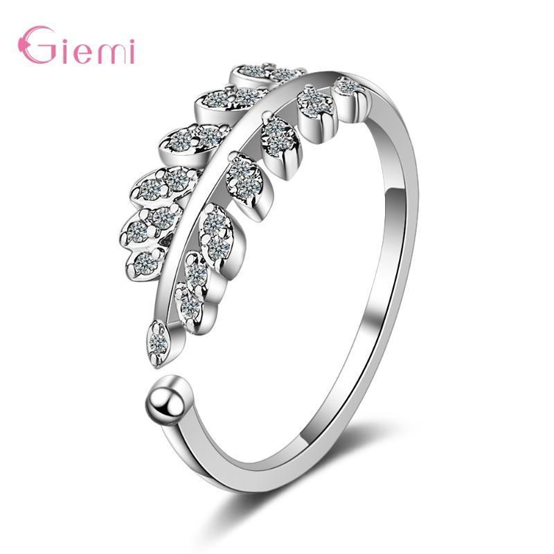 Originales 925 encantos de plata de ley de Corea femenina fresca pequeña circones hoja abierta literarias Olive Branch anillo para las mujeres caliente de las muchachas