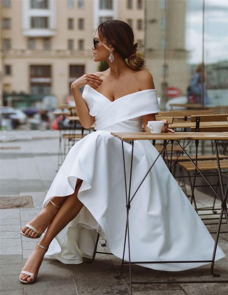50s Vintage Tea Length Short Wedding Dresses Off Shoulder Short Sleeve Satin A Line Simple Bridal Gowns vestido de noiva Custom Size