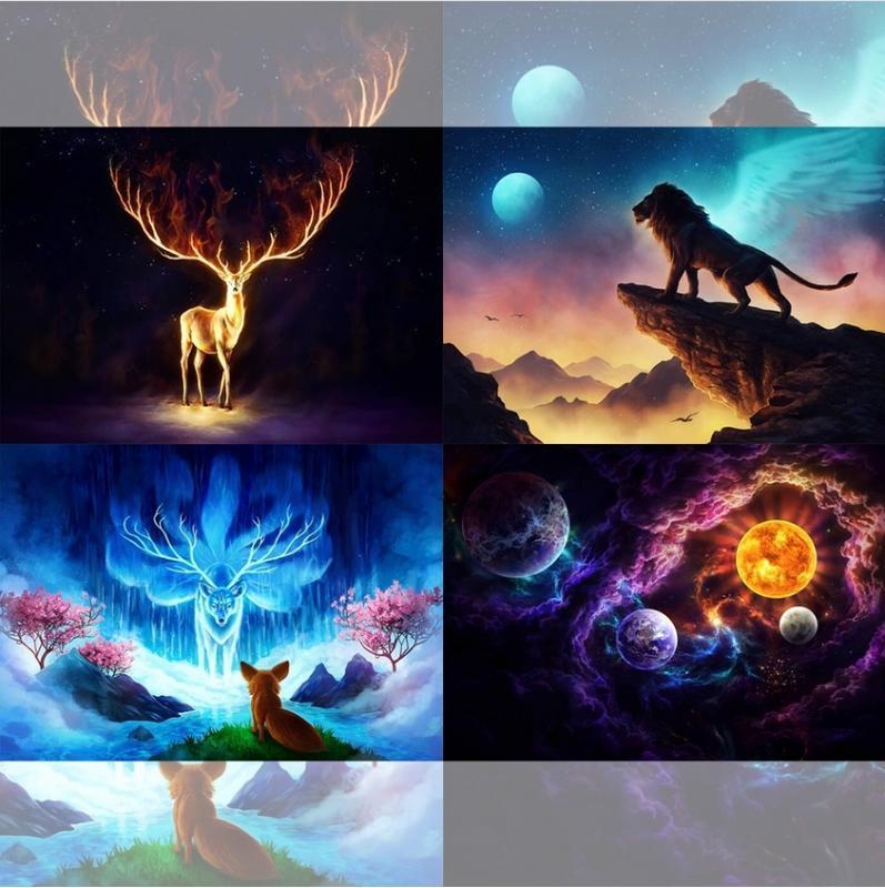Yikexin Diamante pintura dos cervos Universo Lion Chama Planeta Imagem completa pedras redondas animal Rhinestone