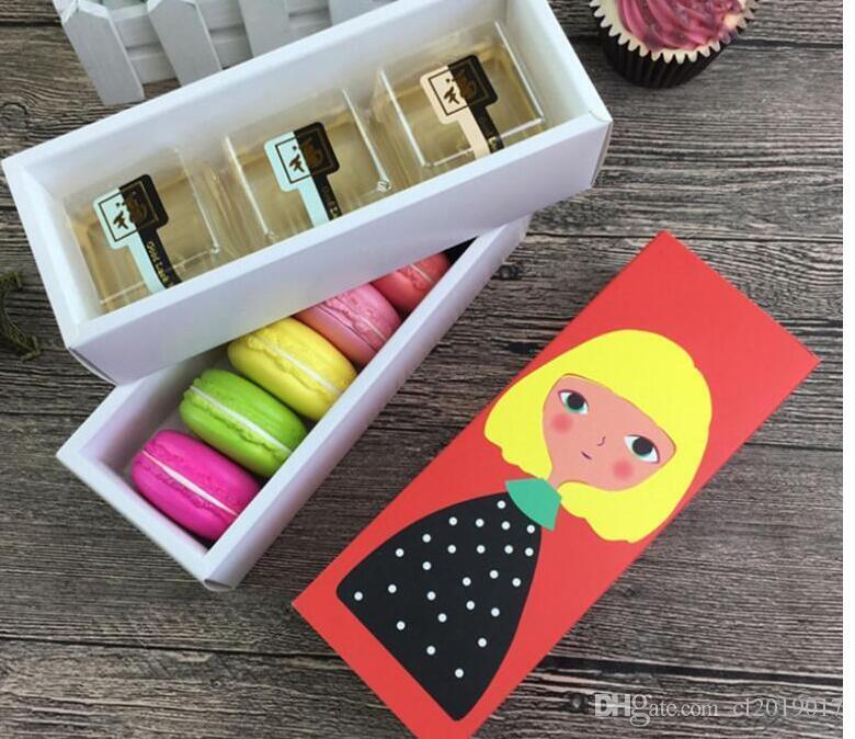 Chriatmas hueco Macaron caja de la magdalena de contenedores Valentine chocolate para hornear Embalaje Paquete Macaron Cake cajas de embalaje de papel