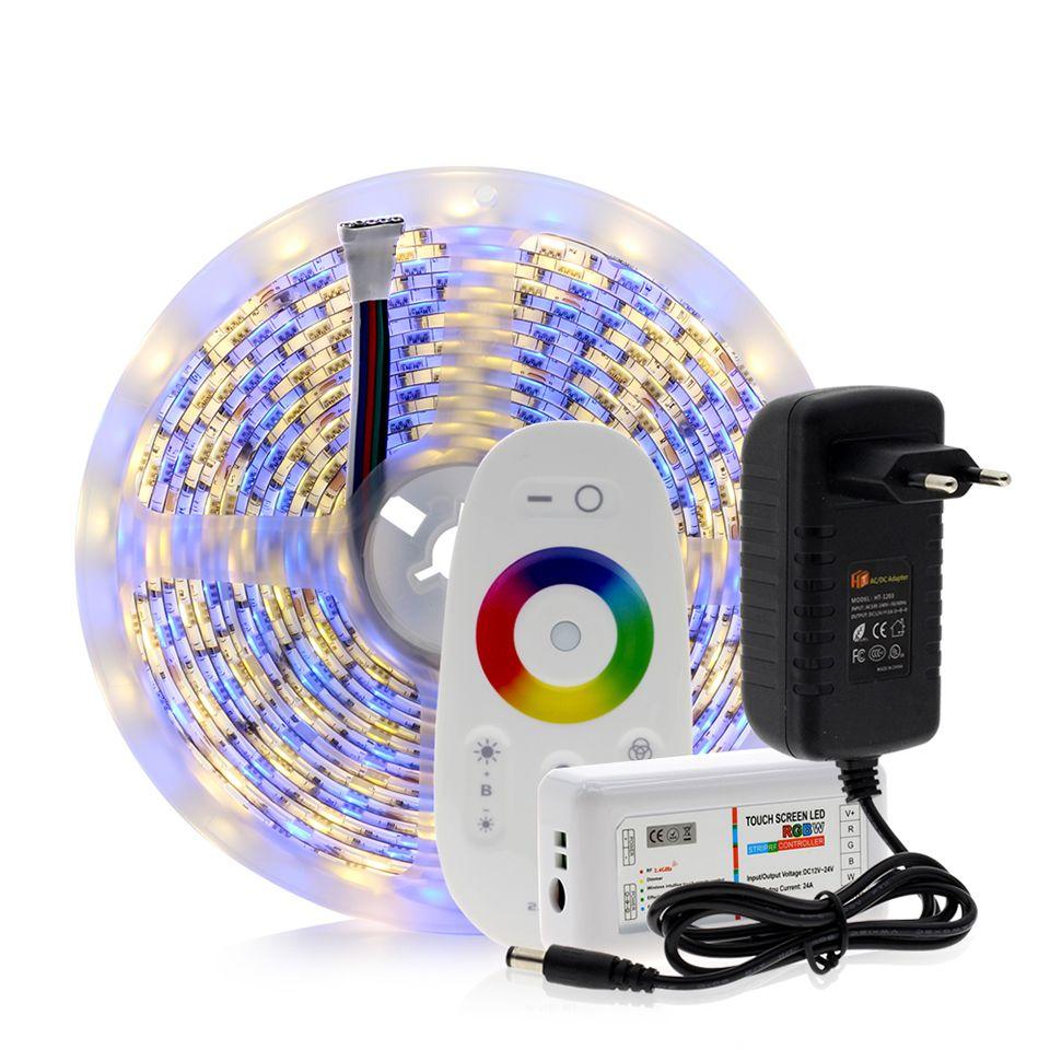 5050 Faixa de LED RGB / RGBW / RGBWW 5M 300LEDs RGB cor variável flexível LED Light + Controle Remoto + 12V 3A Power Adapter