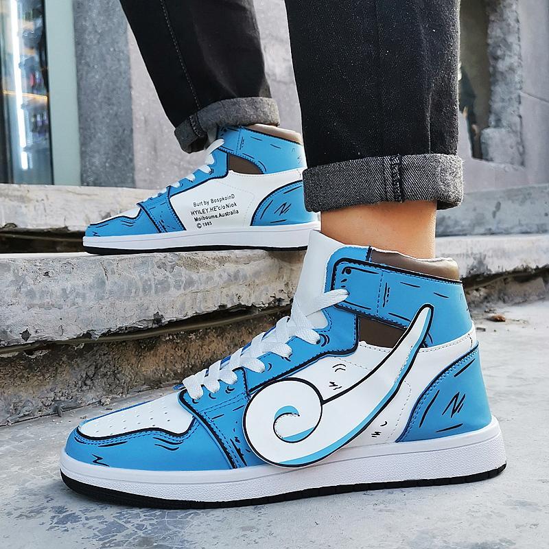JUNSRM New Fashion Anime Jenny Turtle High Top Leather Casual Shoes Sneakers Men Zapatos De Hombre Men'S Shoes Chaussure Homme Womens Shoes Cheap
