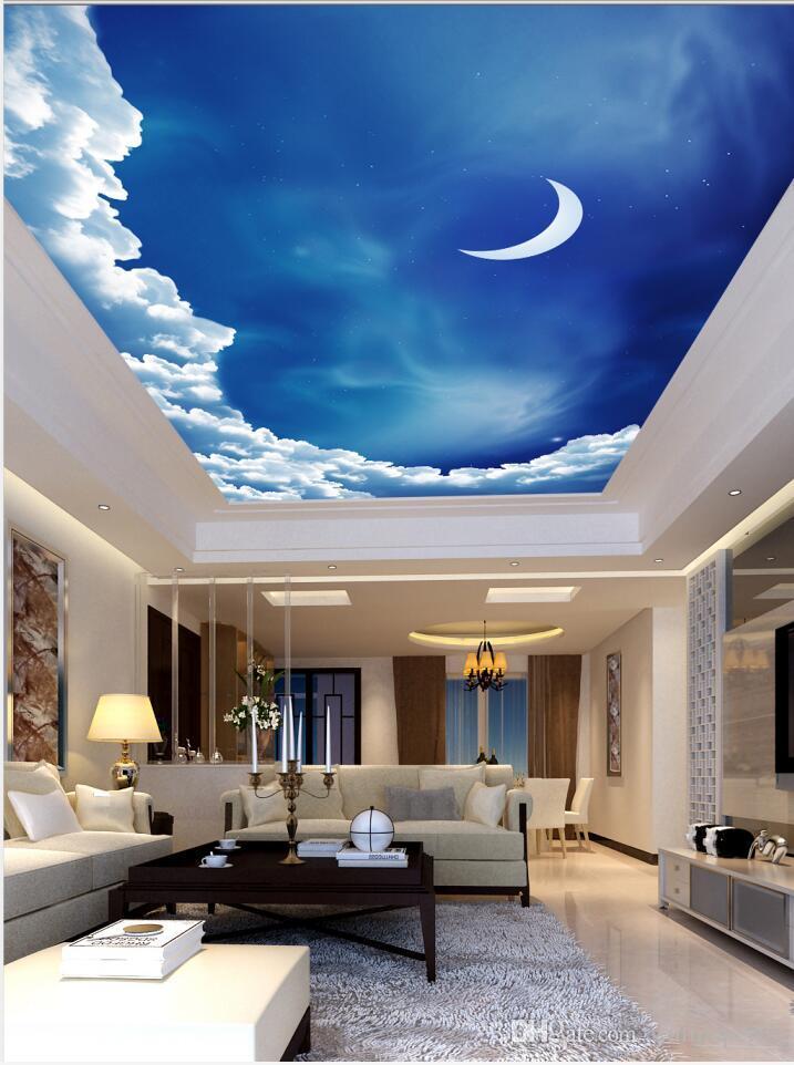 Sur mesure 3D Photo papier peint Les plafonds style de peinture ciel nocturne salon murale plafond de la chambre de lune