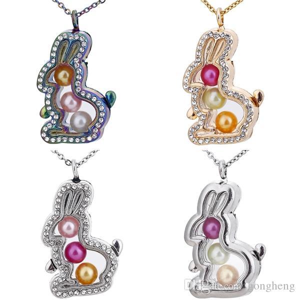 """3 Renkler güzel Karikatür tavşan Rhinestone Manyetik Cam Yüzen Madalyon Kolye Kadın Takılar 20 """"Kolye"""
