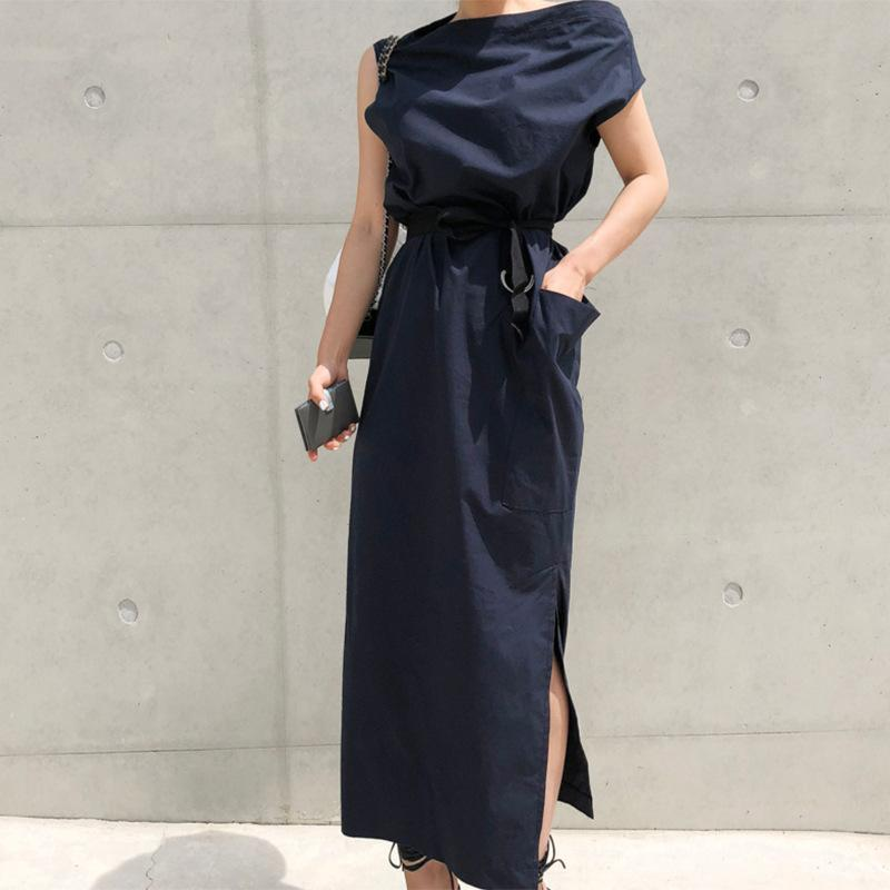 Brief femmes Fractionnement Robe 2020 Printemps Eté High Street Celebrity Fashion irrégulière épaule Sahes Pocket Casual Dress