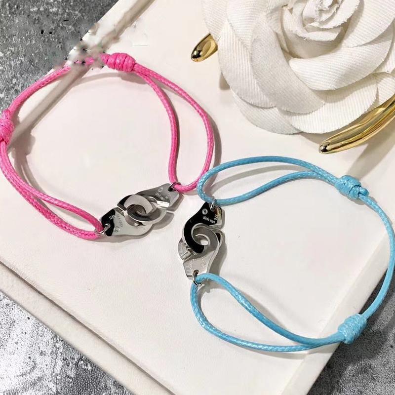 Homme femme bijoux 925 Sterling Silber Handschellen Armband Für Frauen Männer Einstellbare Seil Schmuck Marke Armbänder