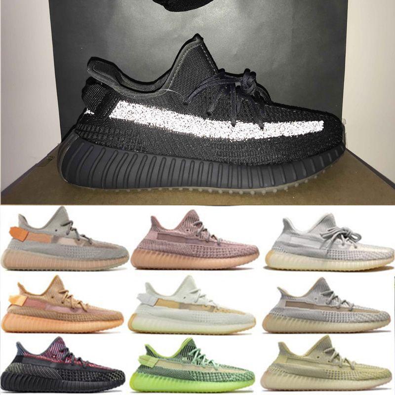 Nueva Tierra Kanye West Zapatos corrientes Yeezreel estático reflectante Yeshaya Marsh Yecheil zapatos de la zapatilla de deporte de la cola Luz de lino blanco de la crema de calidad superior