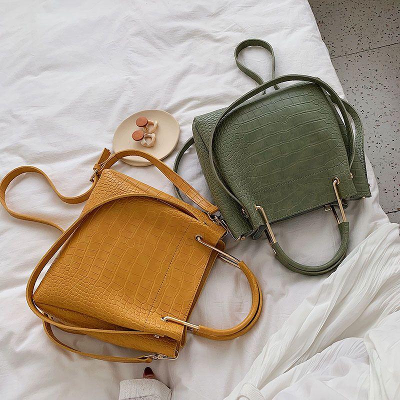 JI HAO Brand Design Bucket Bags For Women Fashion Crossbody Bag PU Leather Female Simple Alligator Shoulder Bags Ladies Handbags
