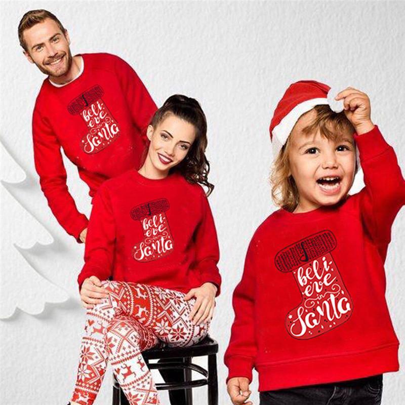 Natale Famiglia con cappuccio Carino Famiglia Vestiti uguali invernali mamma e figlia abiti corrispondenti Xmas Party Fashion Felpa top