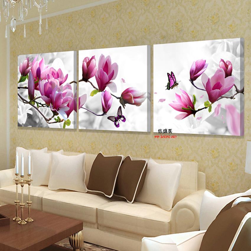 3 조각 캔버스 핑크 난초 장식 미술 유화 벽에 살기위한 모듈 사진 앉아 방 포스터 프레임 없음