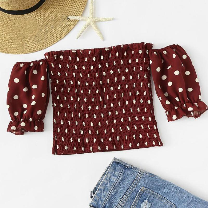 Les femmes blouse de femmes d'impression d'été Casual de l'épaule froncé point imprimé réservoir chemises femmes jusqu'à dentelle sexy Tops Chemisier # P30