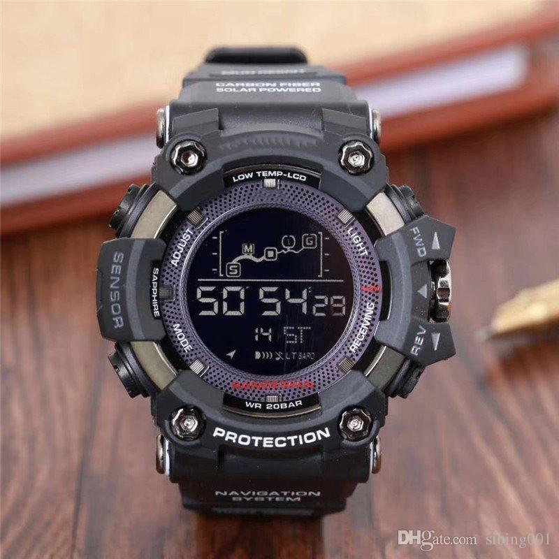 Erkekler prw Spor Elektronik kronograf kol saati G 100 110 Mens Big Dijital su geçirmez LED erkek darbeye dayanıklı Bilek seyretmek Dial
