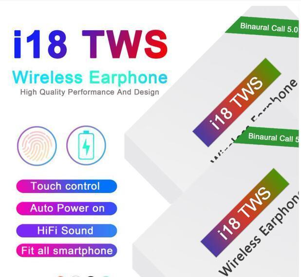 I18 توس تعمل باللمس 5.0 لاسلكية سماعات بلوتوث ستيريو سماعات السيارات السلطة على السيارات التقشير تسليم سريع