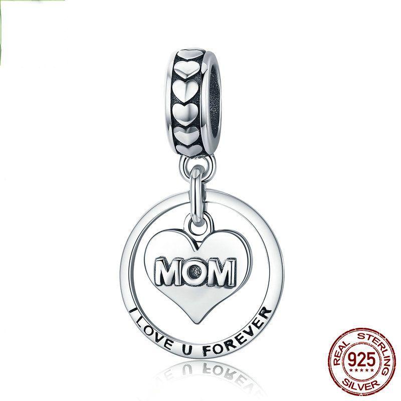 Origional DIY Wunderbare Perlen 925 Silber Zubehör Mom I Love You Forever Muttertags-Anhänger Halskette