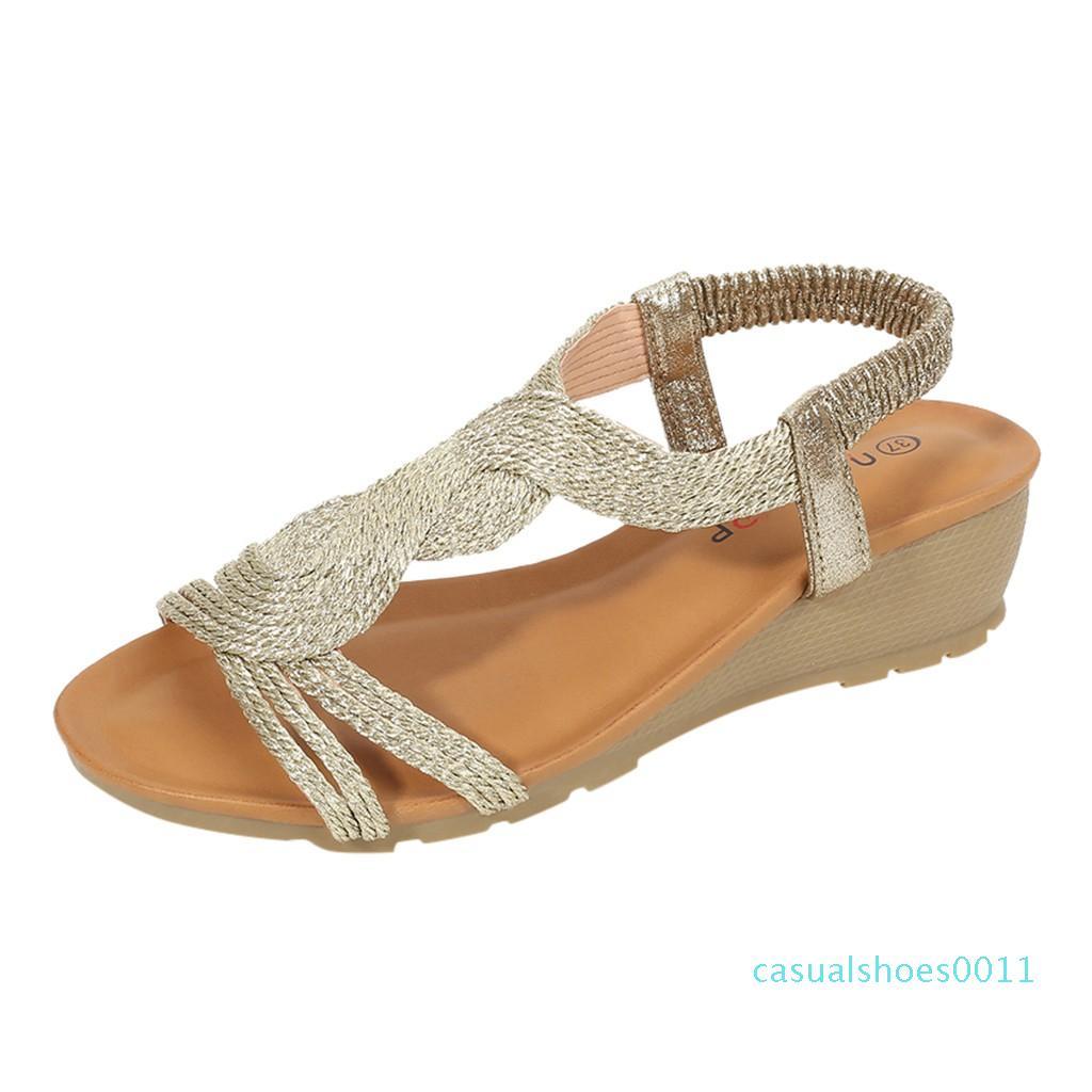 Muchachas de la manera cómodos de la sandalia del estilo de Bohemia cuñas gruesas sandalias casuales zapatos para mujer Classics antideslizantes playa zapatos 2020 c11