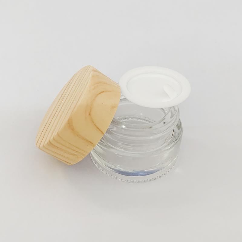 Coperchio di legno del grano scatola di plastica di vetro crema contenitore vaso cosmetico 5ml raccolta olio trucco vaso del campione cosmetico cera Packaging Bottiglia