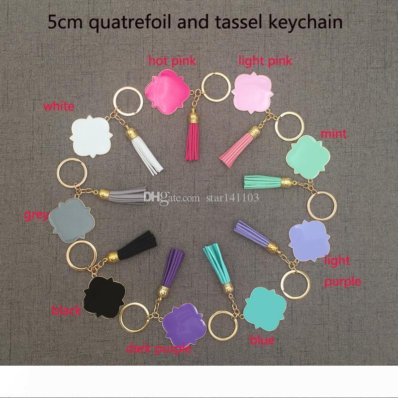 Gold Silber Großverkauf fertigte Personalisierte mit Monogramm Blank Quatrefoil Tassel Schlüsselanhänger 5cm Quatrefoil mit Monogramm Wildleder Quaste Schlüsselanhänger