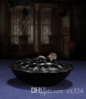 Quemador de incienso de plato de loto horno de sándalo de aire de purificación de interior para hogar horno de aromaterapia de Buda quemador de incienso de bronce decoración