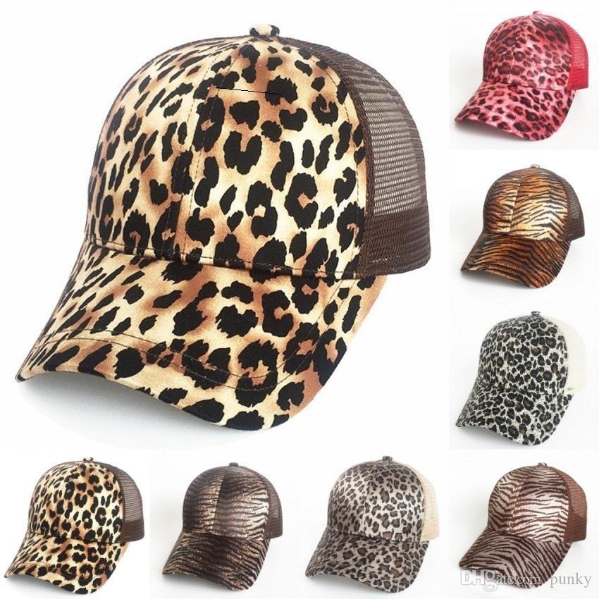 Nueva gorra de béisbol con cola de caballo con estampado de leopardo 9 colores Sombreros de malla Mujeres Messy Bun Casual Hip Hop Snapbacks