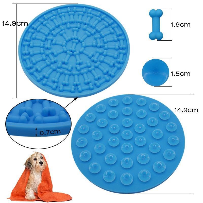 Banho do cão lamber pad pad osso rodada silicone com almofada banho do cão otário lambendo