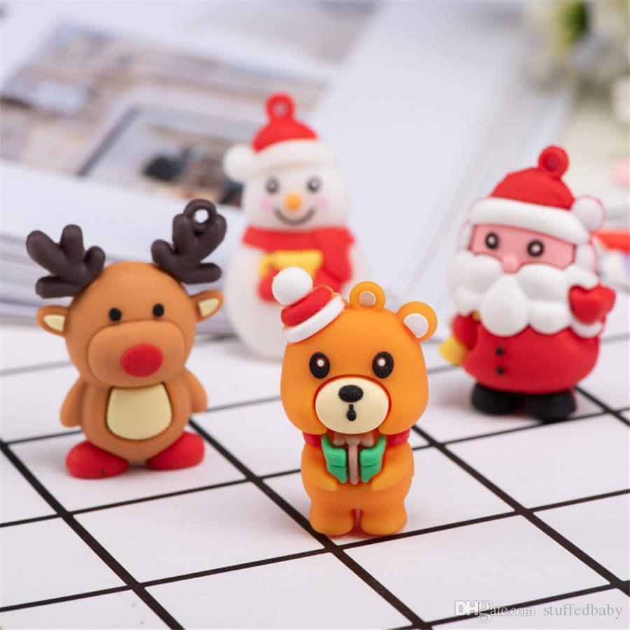 2 pollici Cartoon Babbo Natale Pupazzo di neve Renna Soft Doll Portachiavi Ciondolo Regalo di Natale creativo Giocattoli per bambini