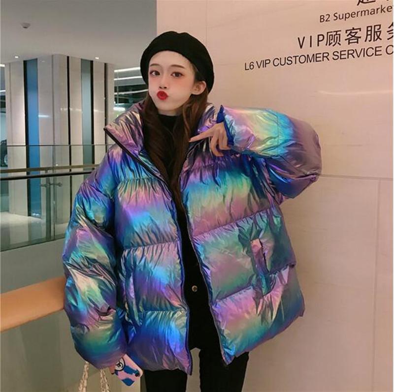 Brillante chaqueta del invierno caliente abajo Parkas Golssy Chaqueta 2020 de algodón para mujeres barnizada Chaqueta impermeable capa de las mujeres