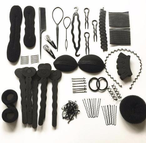 Hot Baby Girls Wedding Hair Accessories Long Styling Braiding Tools Sponge Donut Bun Maker Clips Rubber Band For Women