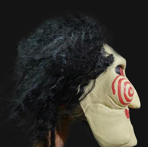 Saw Atacado Máscara Filme Jigsaw Puppet máscaras de Halloween Máscara Inteiro Cabeça Latex Creepy mascarada assustador para homens adultos