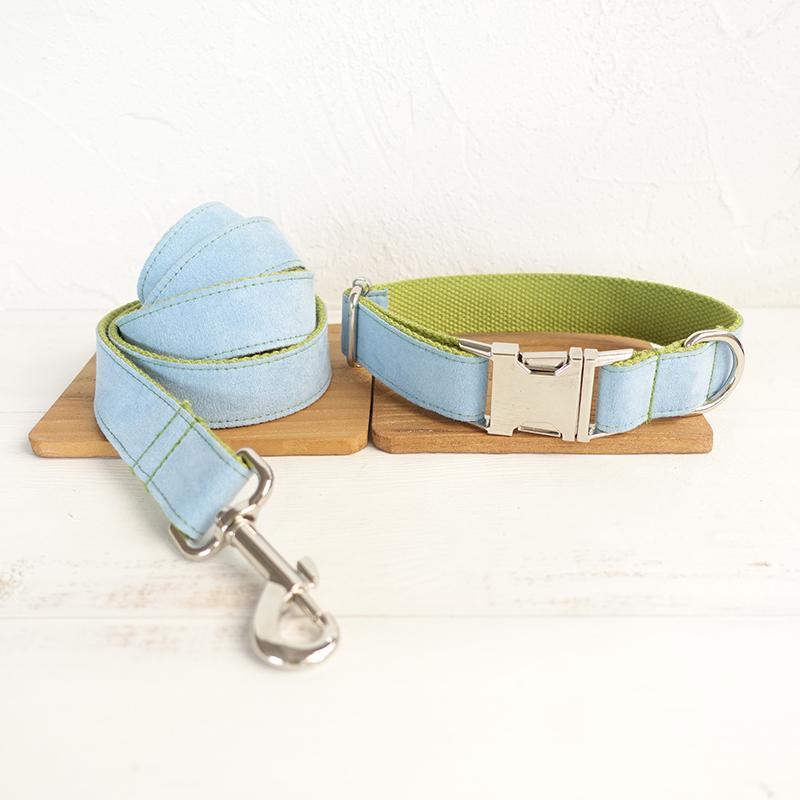 Hundehalsband Personalisierte Benutzerdefinierte Multicolor Samt Puppy Cat Name ID Tag Einstellbare Basic-Halsbänder Leinen Learsh Set Pet Zubehör