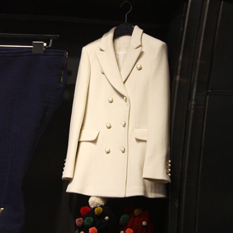 سيدة أزياء أنيقة الربيع الربيع فقرة طويلة البرية بدلة سوداء صغيرة ضئيلة مزدوجة الصدر سترة الإناث