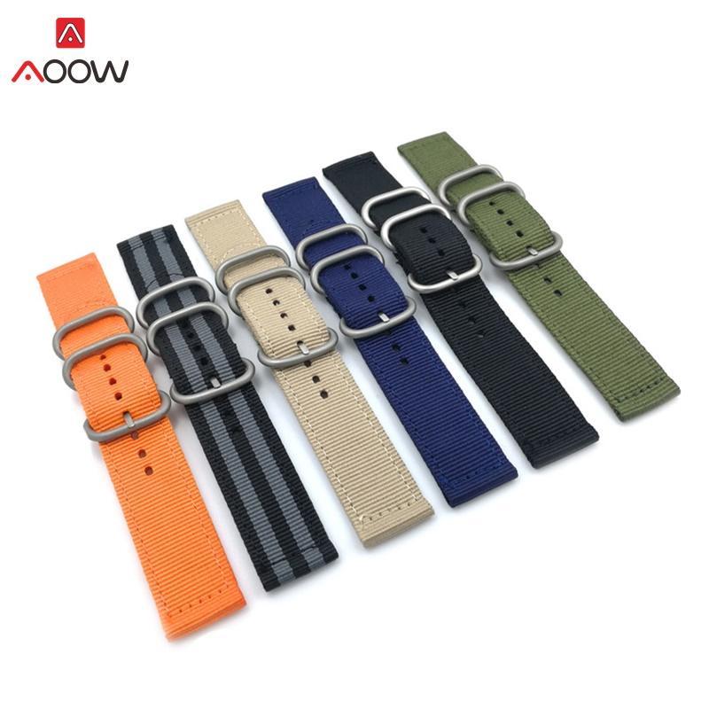 Montres AOOW OTAN Bracelet bracelet en nylon noir boucle 18 20 22mm 24mm remplacement rayé bande Montre Accessoires de mode Montres ceintures