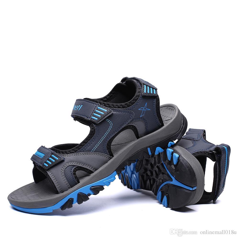 2019 Novo Estilo Homens Sandálias Casuais Confortáveis Sapatos Ao Ar Livre Respirável Legal Sapatos Masculinos Boa Qualidade do Homem Não-deslizamento Sandálias Planas