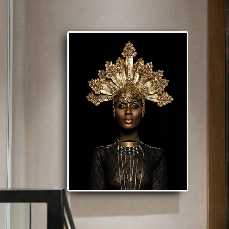 Pittura astratta Gold Crown nera africana donna olio su tela di poster e stampe scandinavo arte della parete per soggiorno