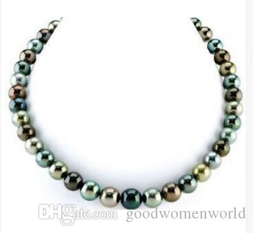 سريع شحن مجاني مجوهرات اللؤلؤ الجميلة جولة مذهلة 9-10mm التاهيتي اللؤلؤ قلادة necklace18 14K