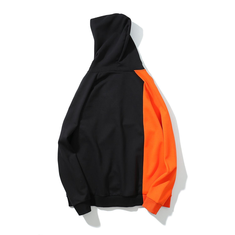 2019 del progettista con cappuccio con cappuccio Patchwork Fleece calda Europa degli uomini di inverno caldo stile allentato Coat semplici hoodies casuali all'ingrosso del progettista