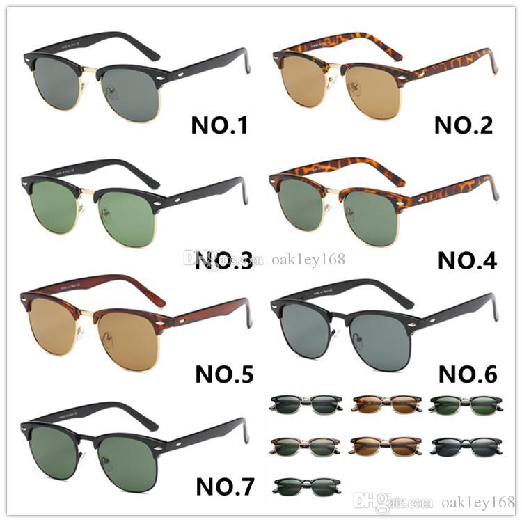 2019 고품질 브랜드 디자이너 선글라스 금속 힌지 유리 렌즈 패션 반 프레임 선글라스 남성 안경 여성 태양 안경 남녀