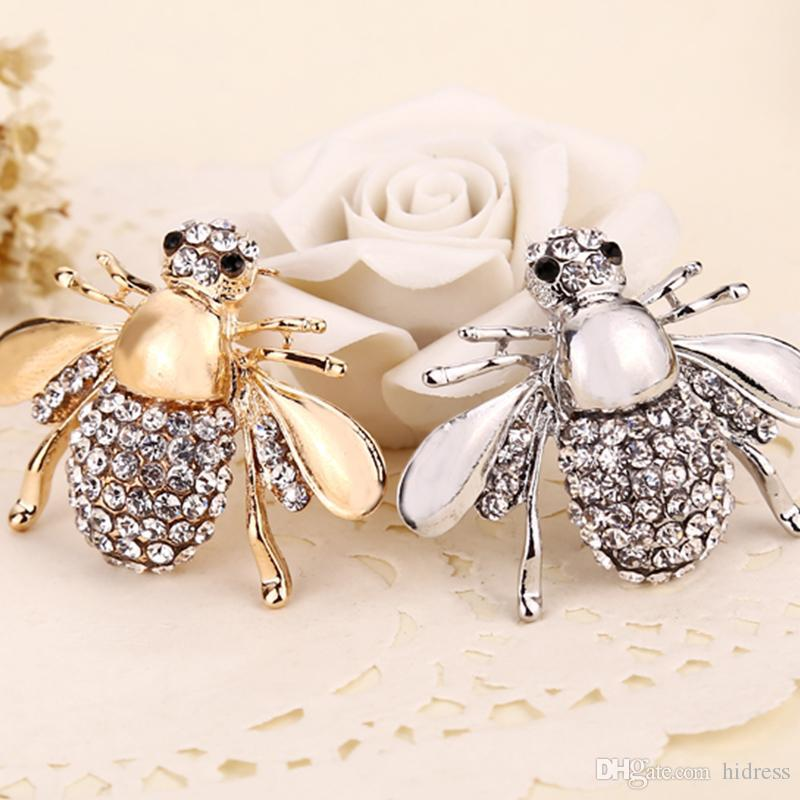 2021 Nueva alta Quailty moda broche animal joyería del Rhinestone de la aleación encantadora abeja pernos de las broches accesorios para la mujer accesorio de la boda